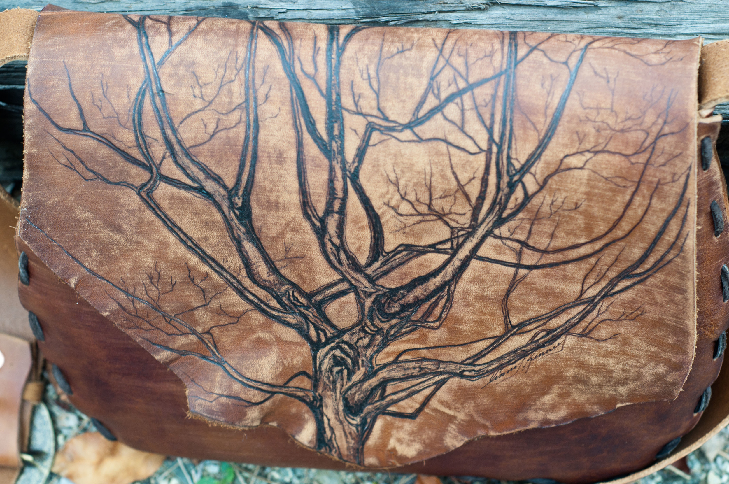 Thrive Like Something Wild Leather Bag