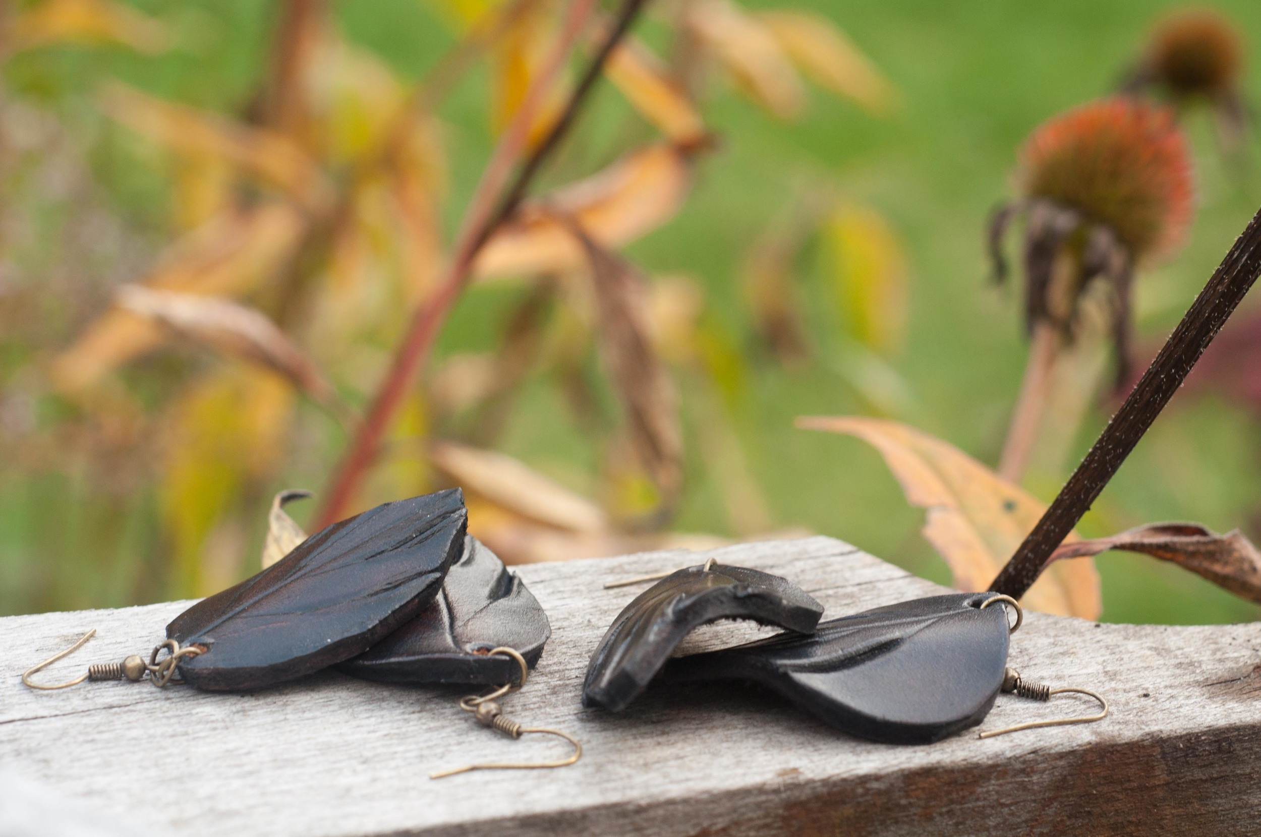 black leaf leather earrings