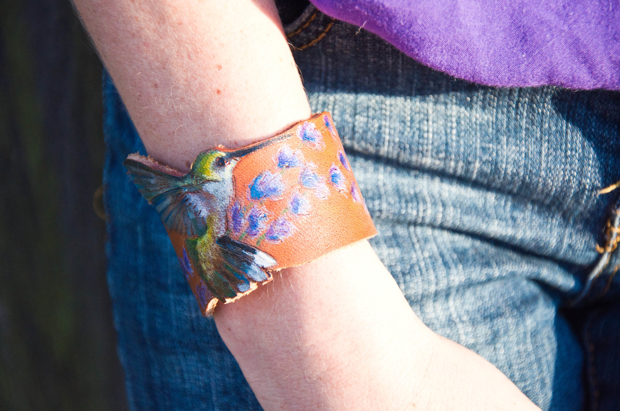 hummingbird and lavender leather cuff