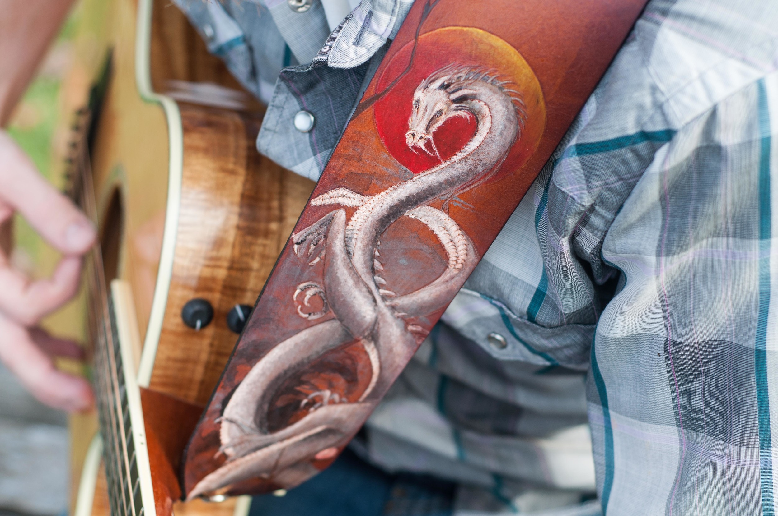 japanese dragon leather guitar strap