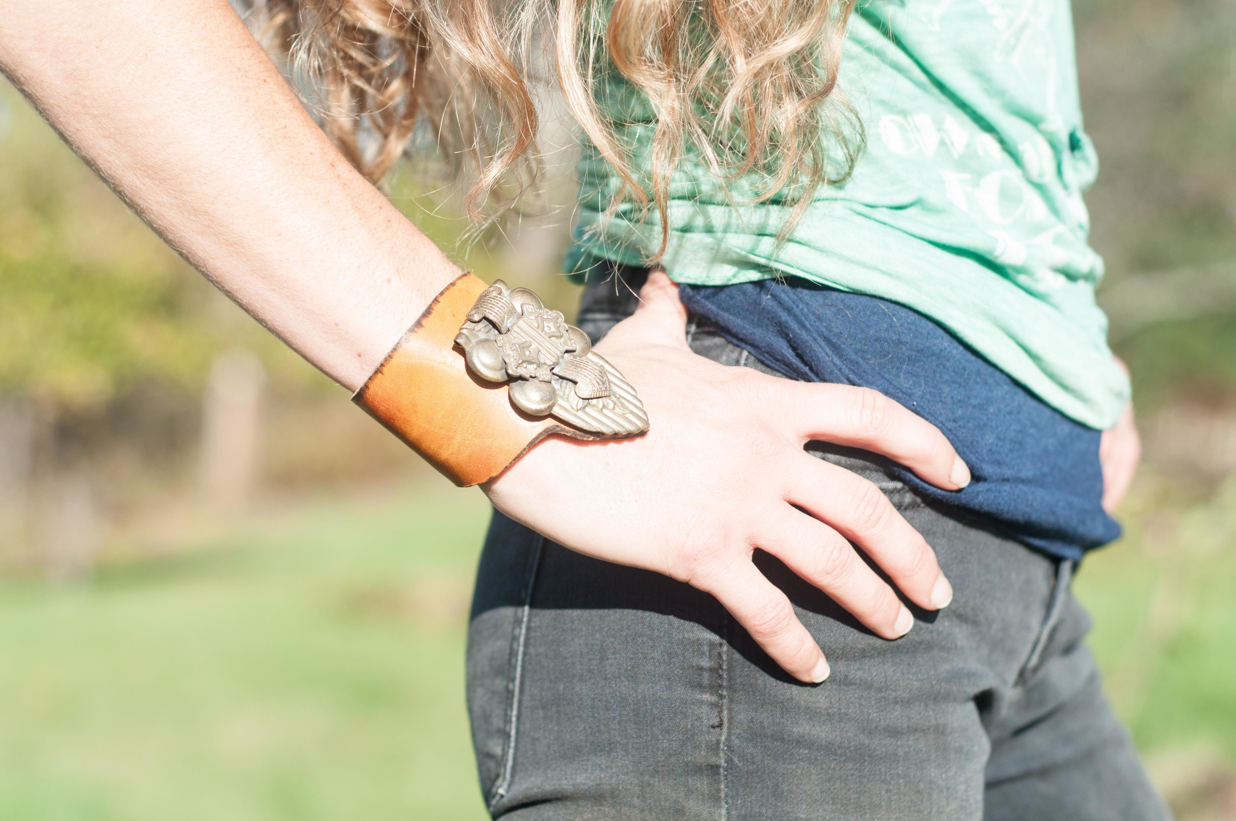 Leather Cuff with antique brass piece