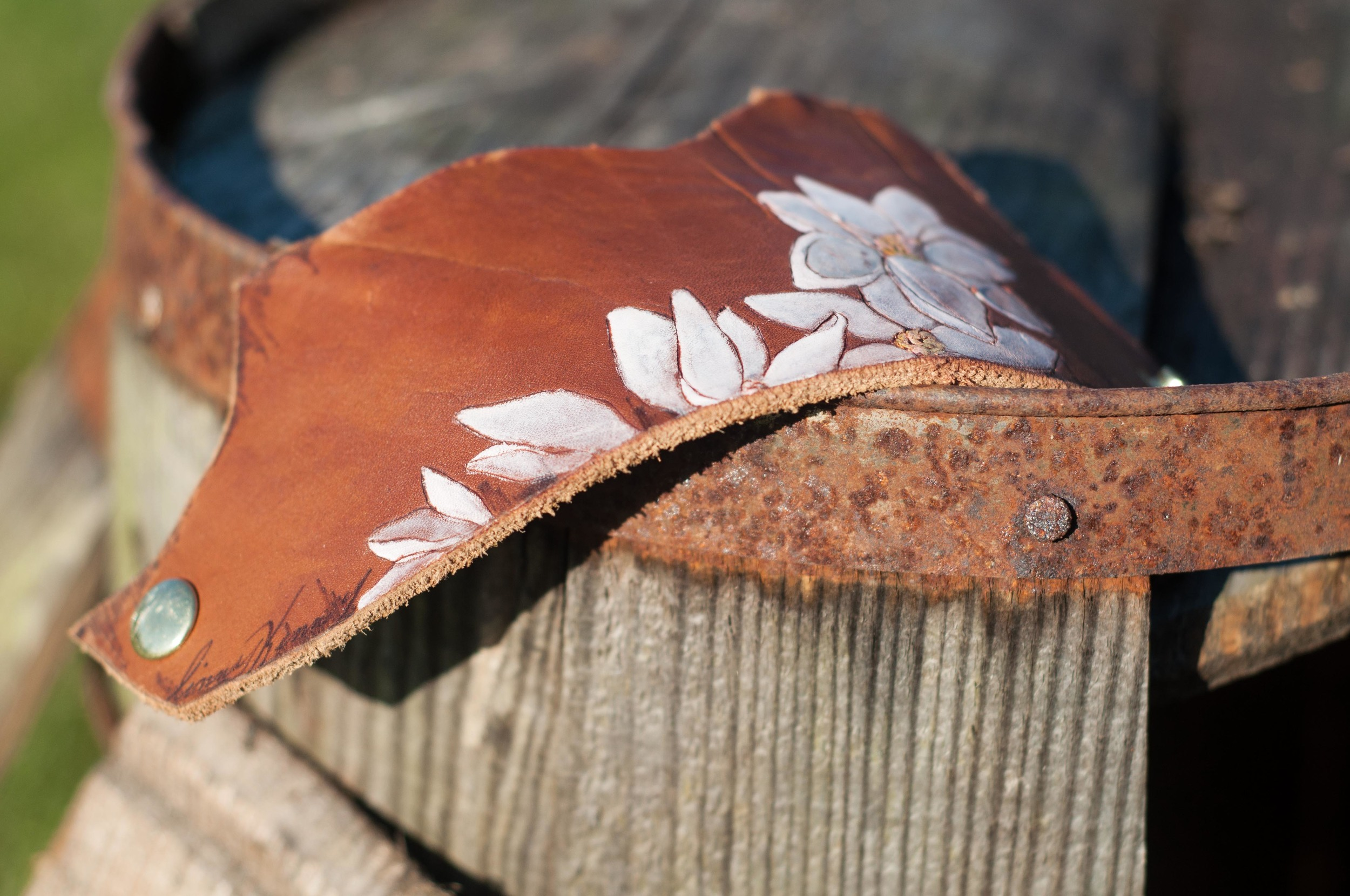 Leather magnolia cuff