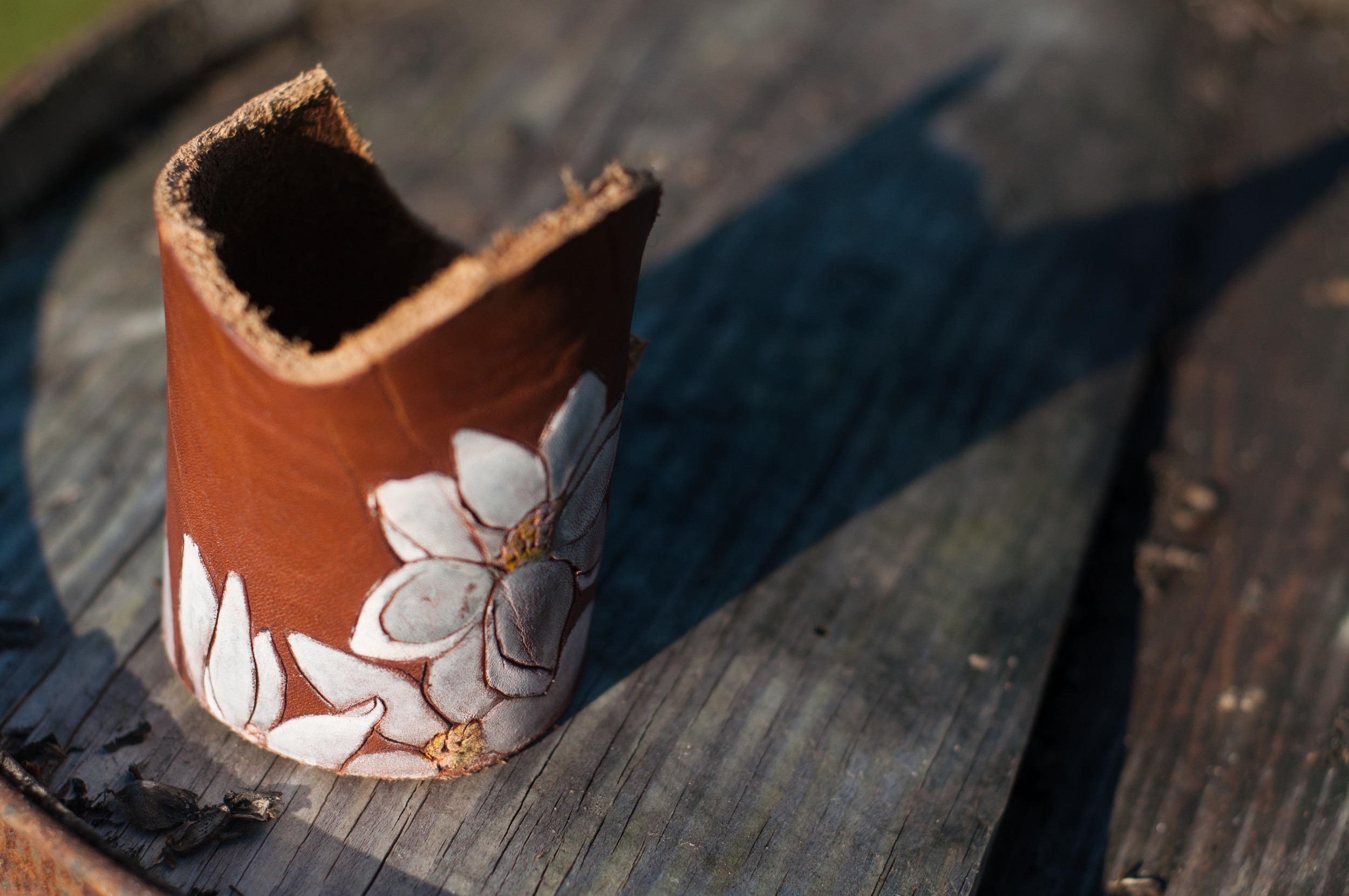 Leather magnolia cuff