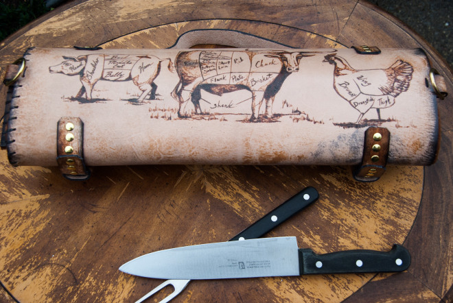 Leather chef roll with initials-20