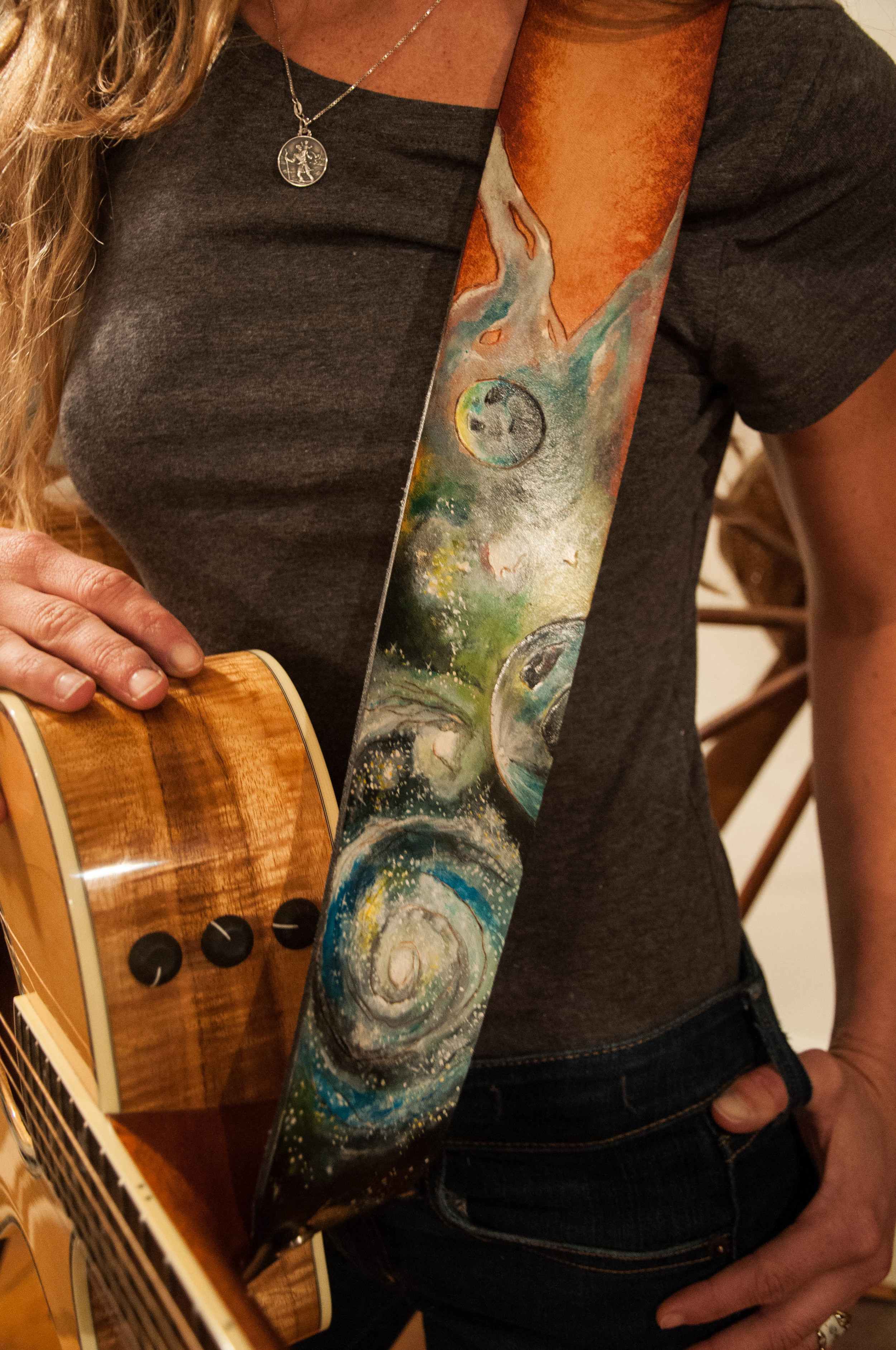 Custom Leather Psychedelic Planets Guitar Strap