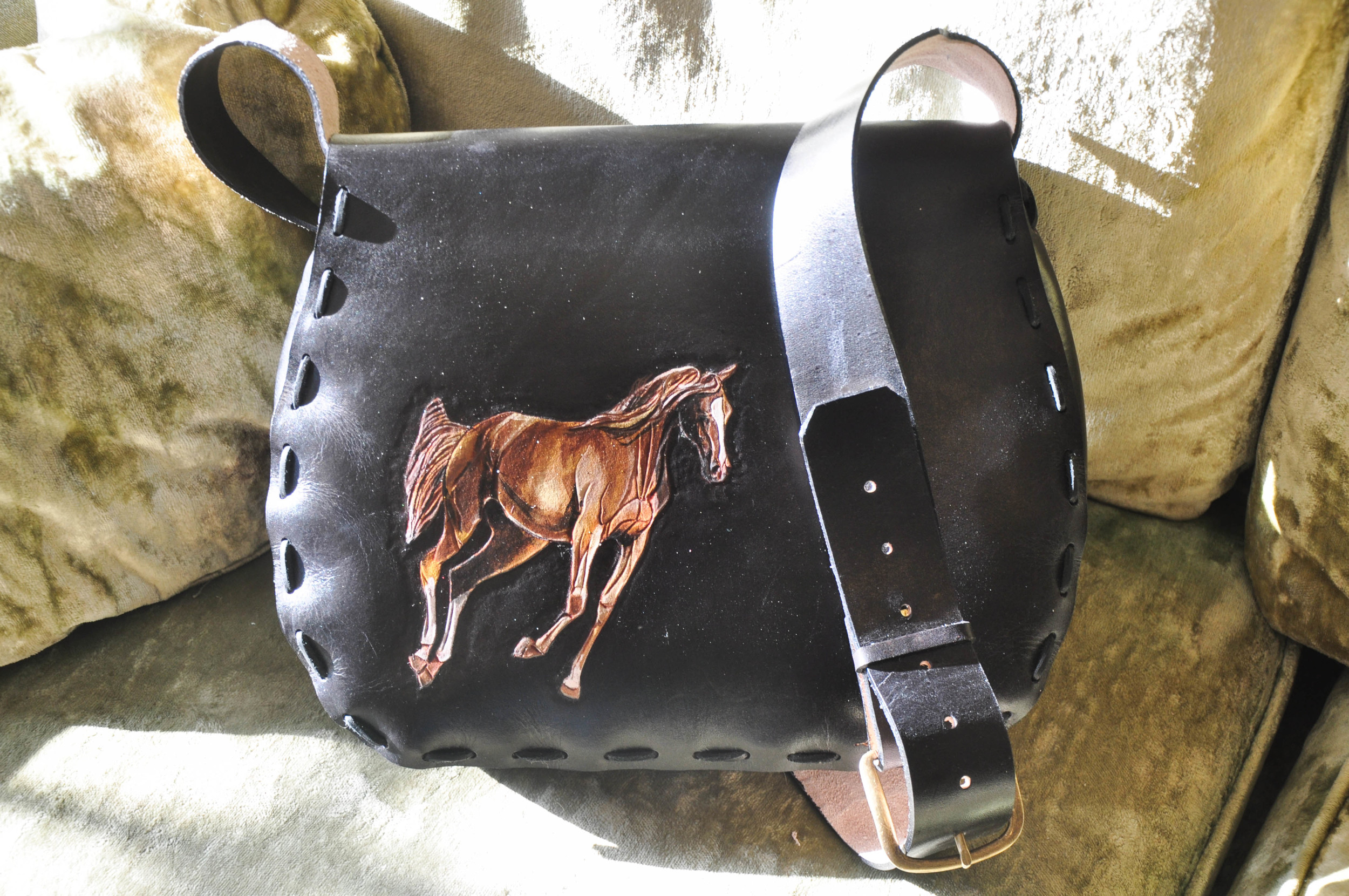 Black Leather Horse and Feather Purse-4