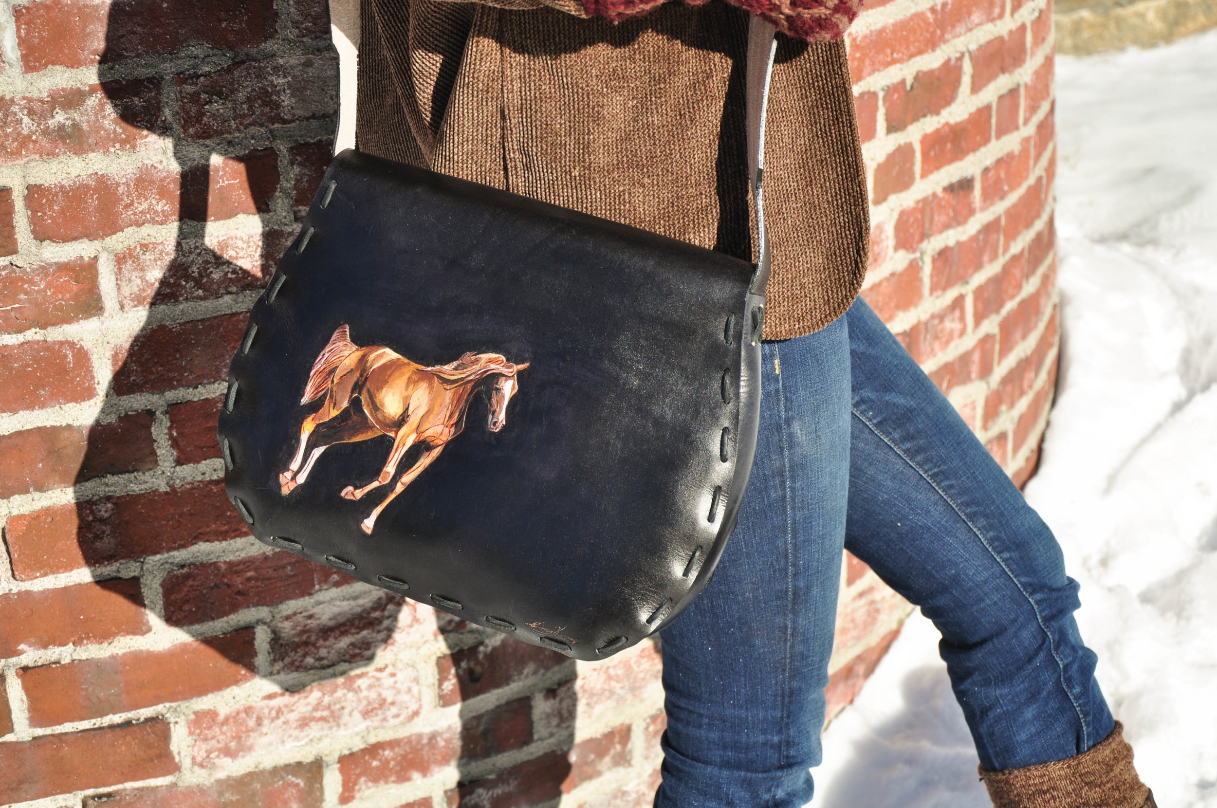 Black Leather Horse and Feather Purse-6