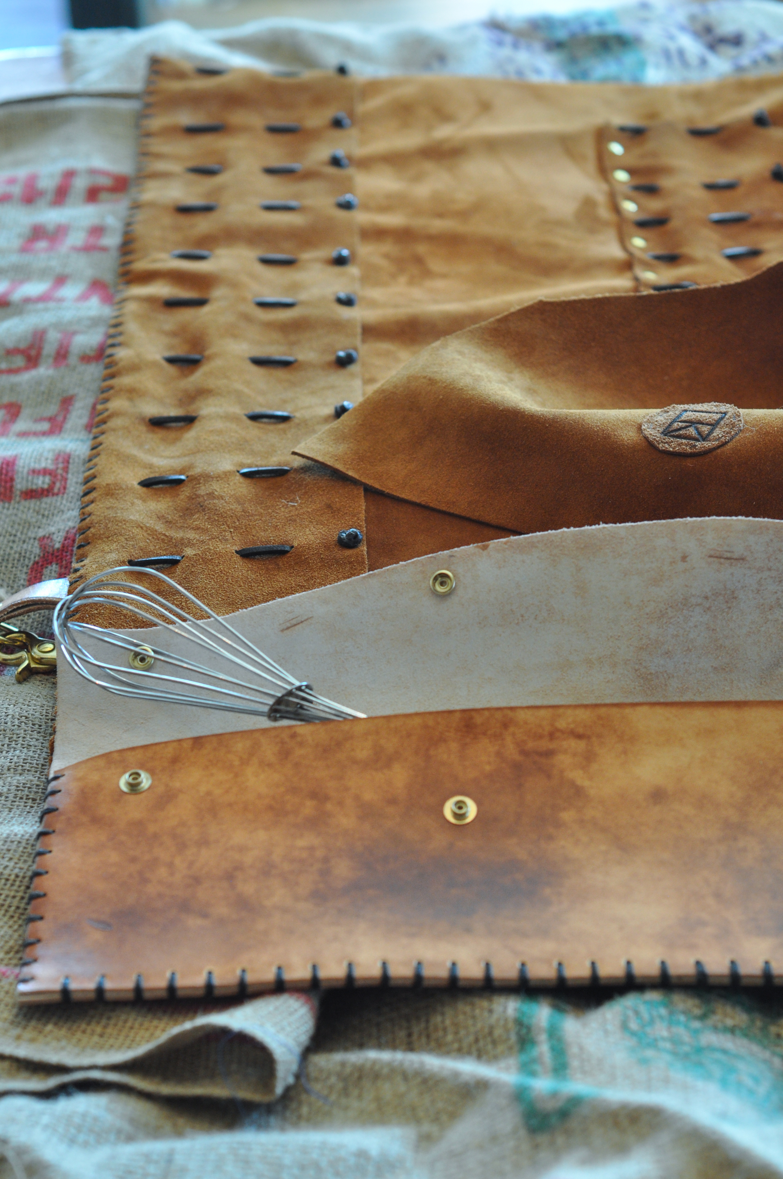 Leather Knife Roll Burnt vines