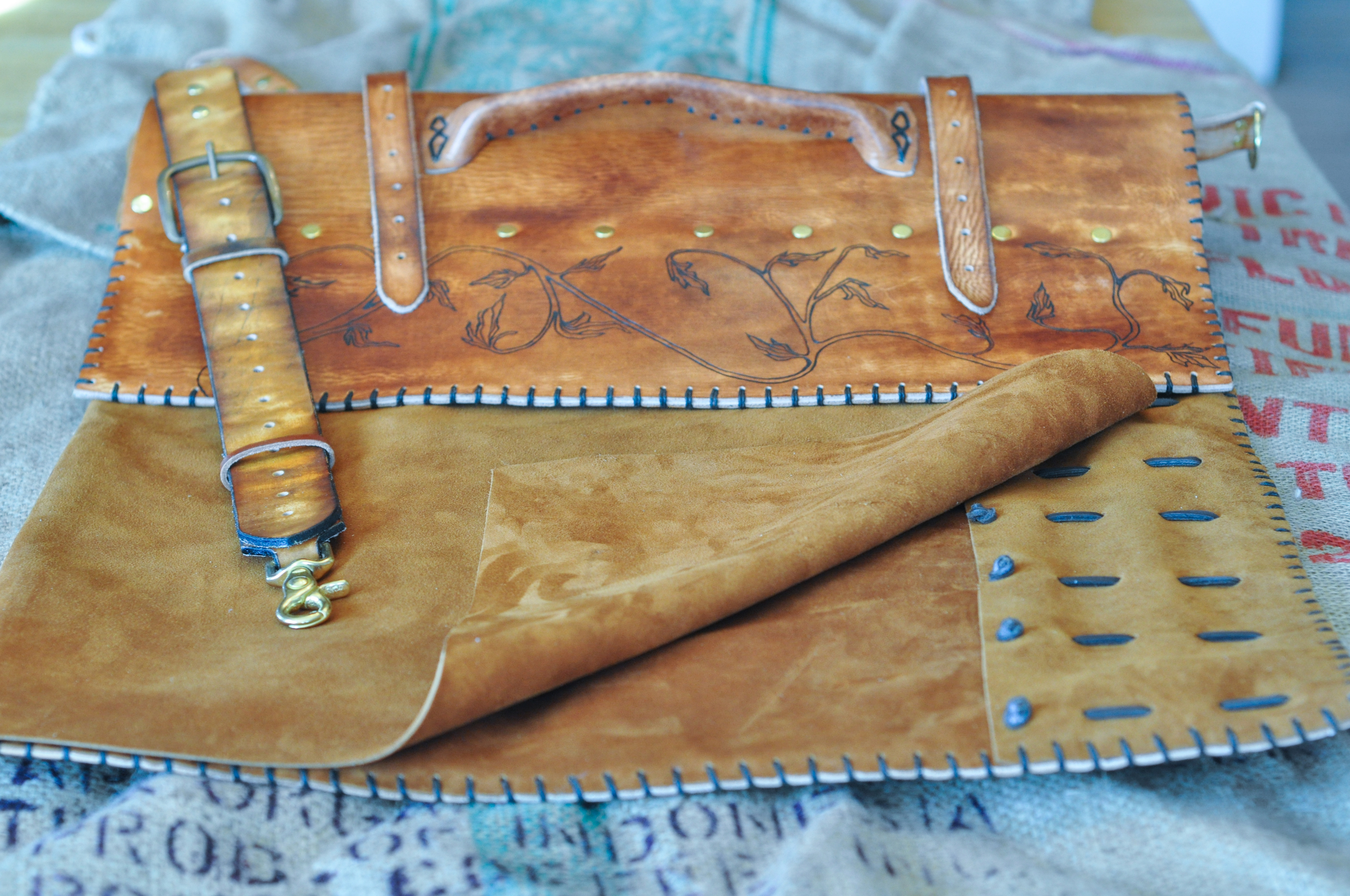 Custom Leather Knife Roll with burnt vines