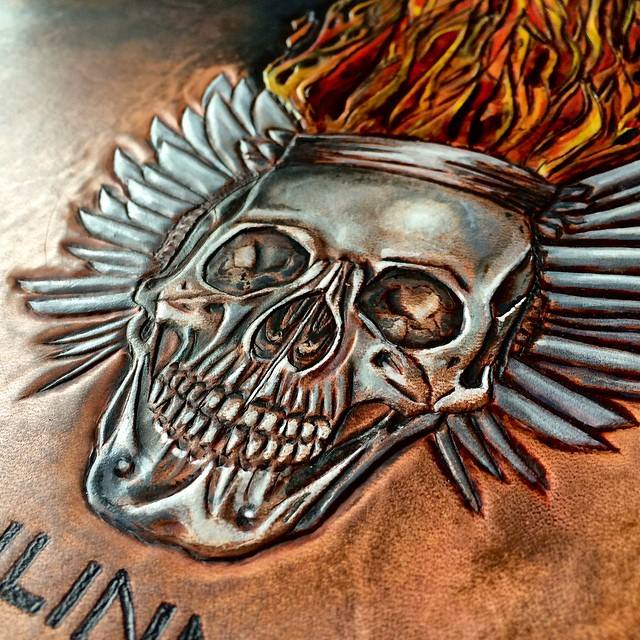 tooled leather skull