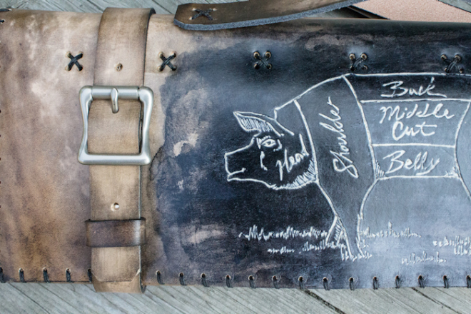 Butcher Knife Roll White Pig-29
