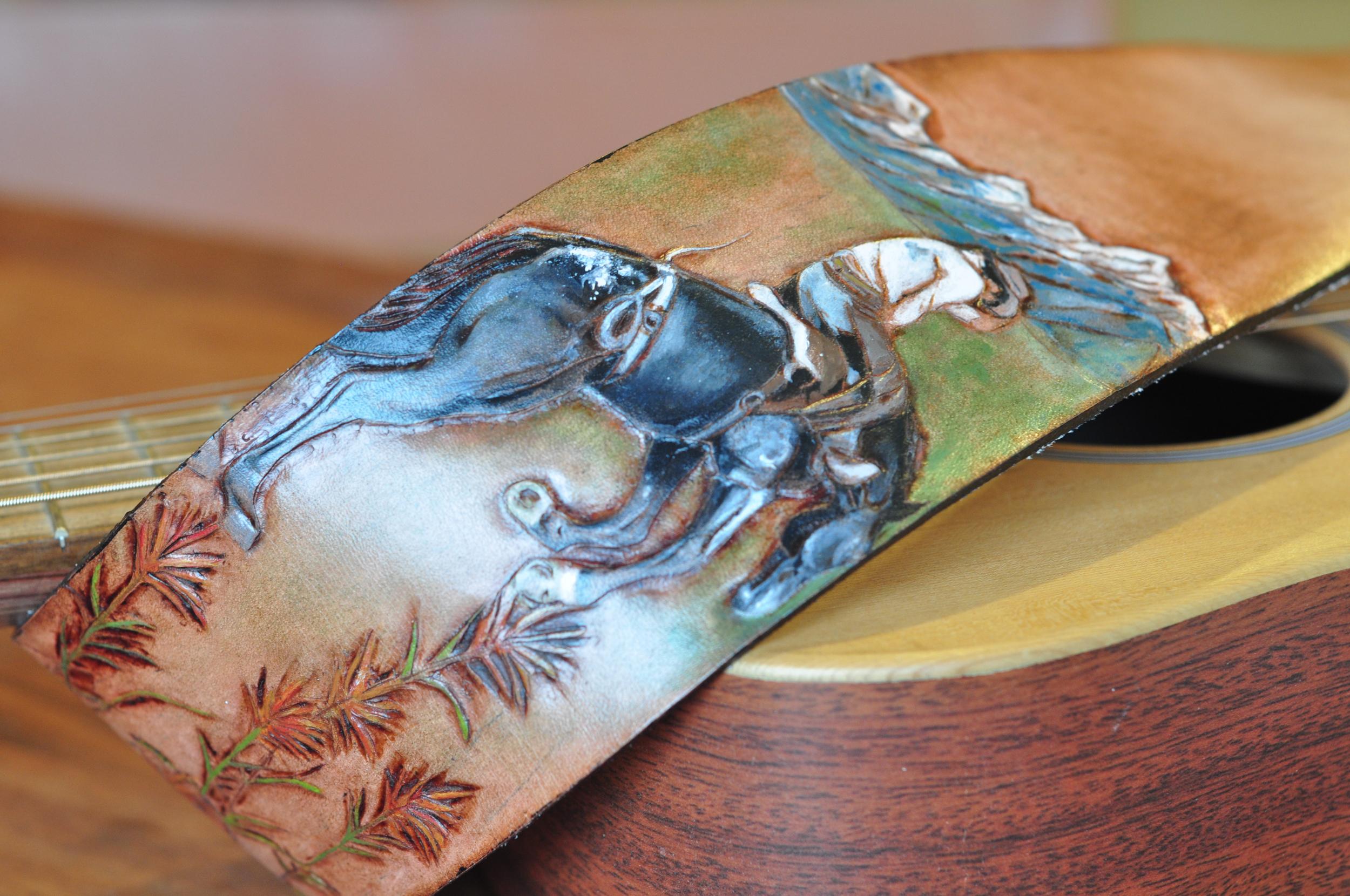 Teton Mountains and horse guitar strap-11
