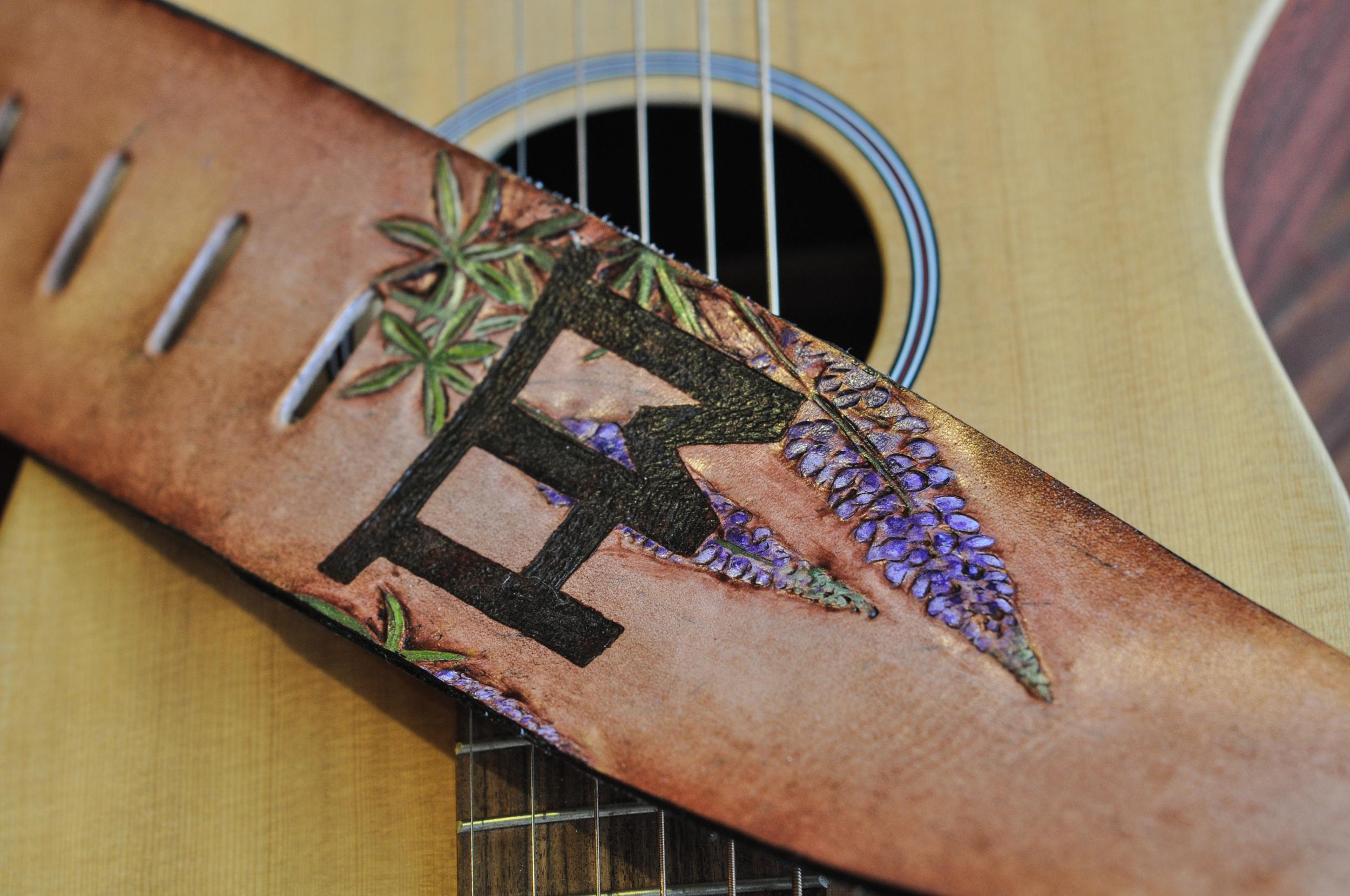 Teton Mountains and horse guitar strap-15