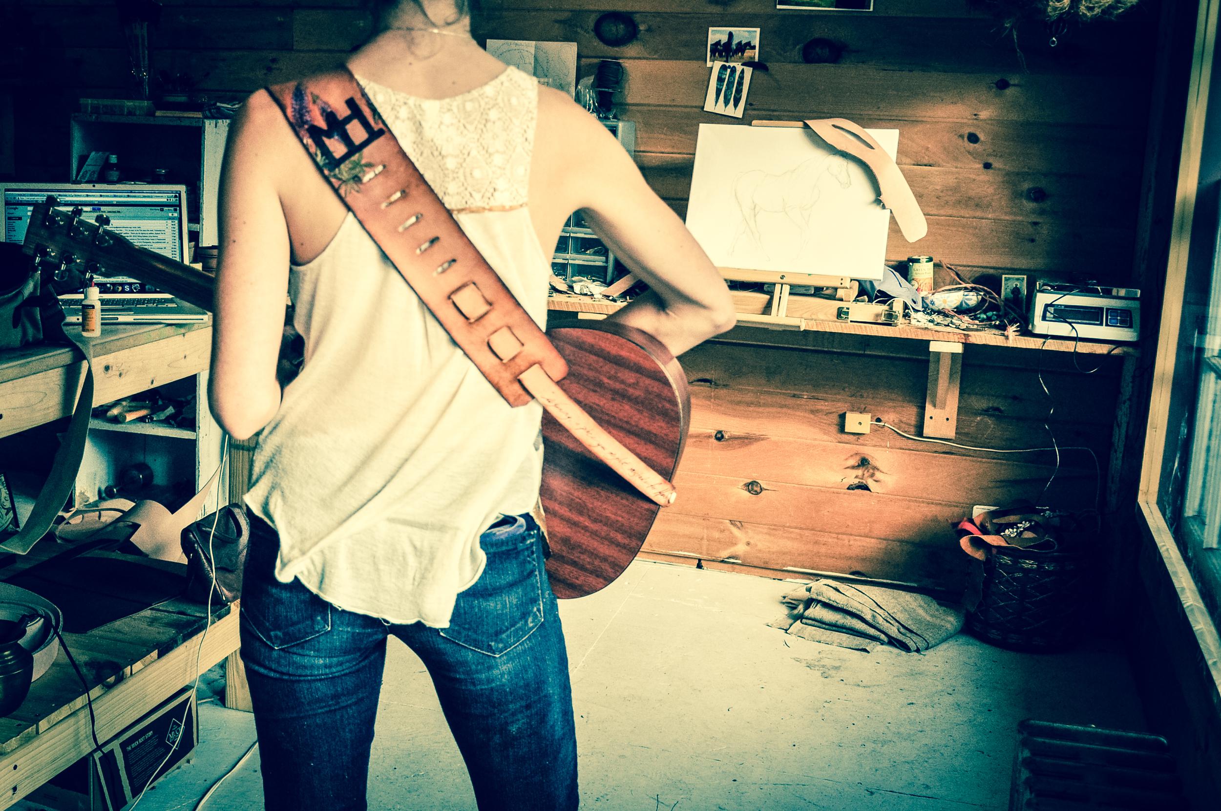 Teton Mountains and horse guitar strap-2