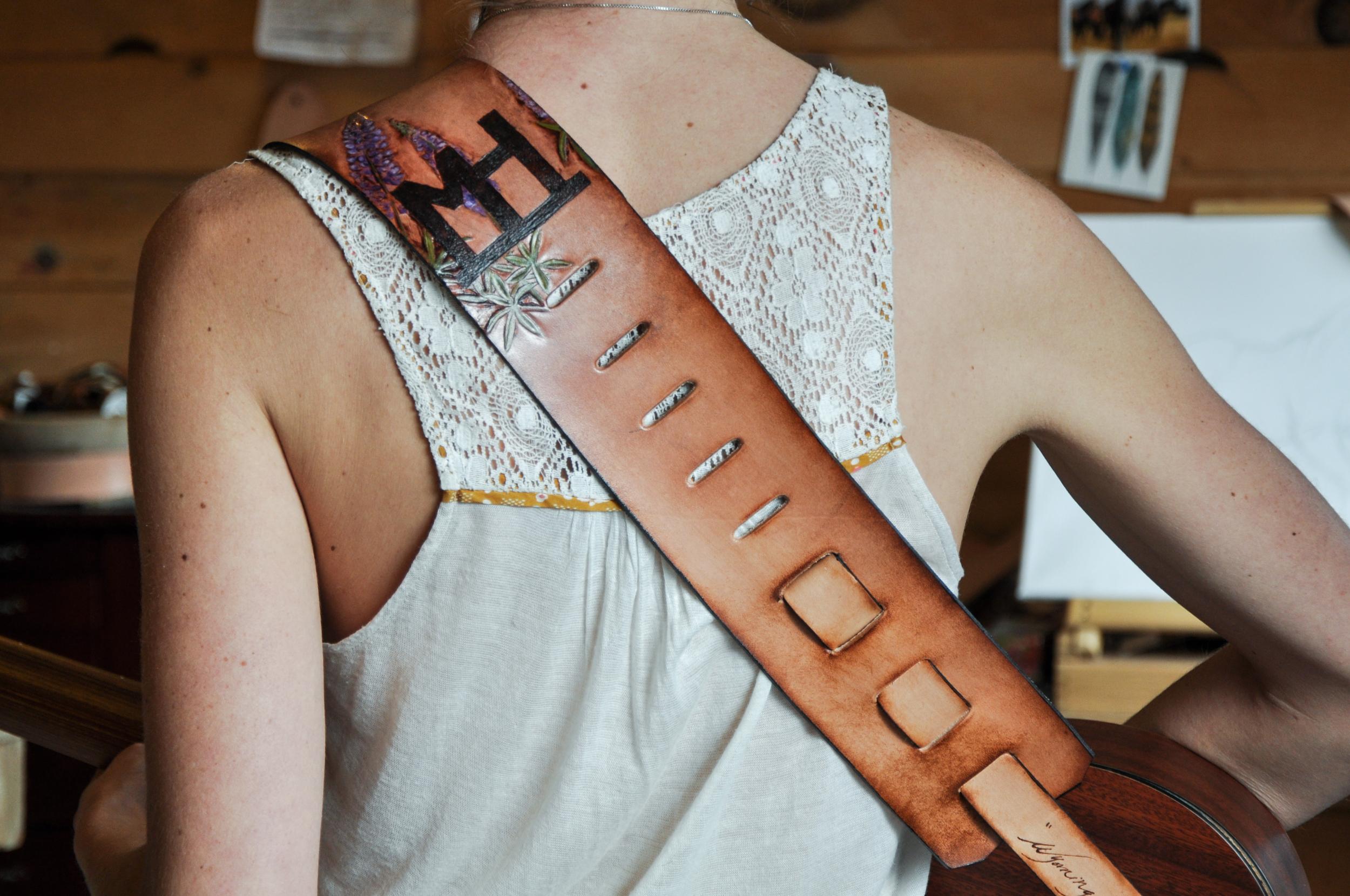 Teton Mountains and horse guitar strap-3