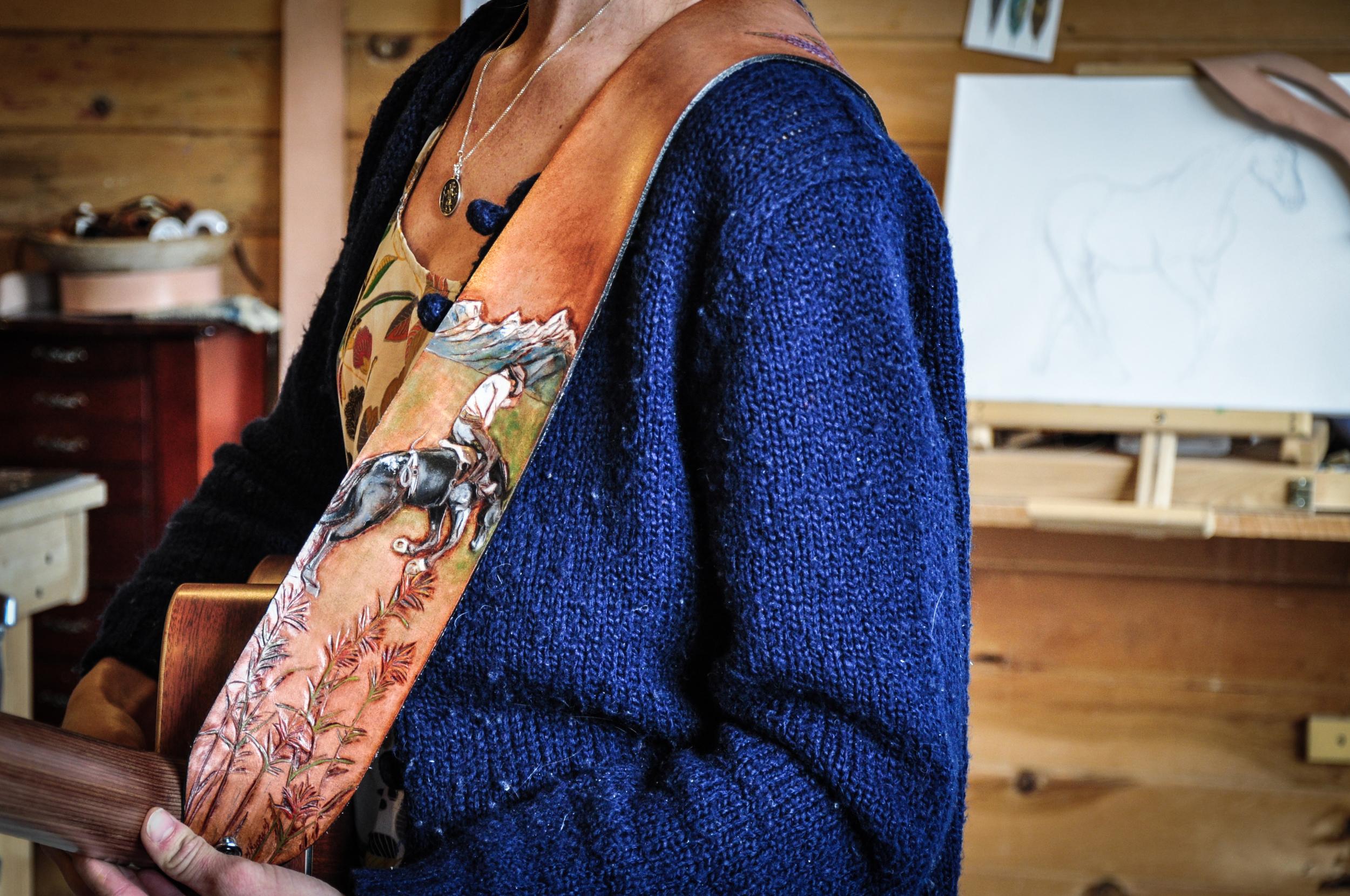 Teton Mountains and horse guitar strap-5