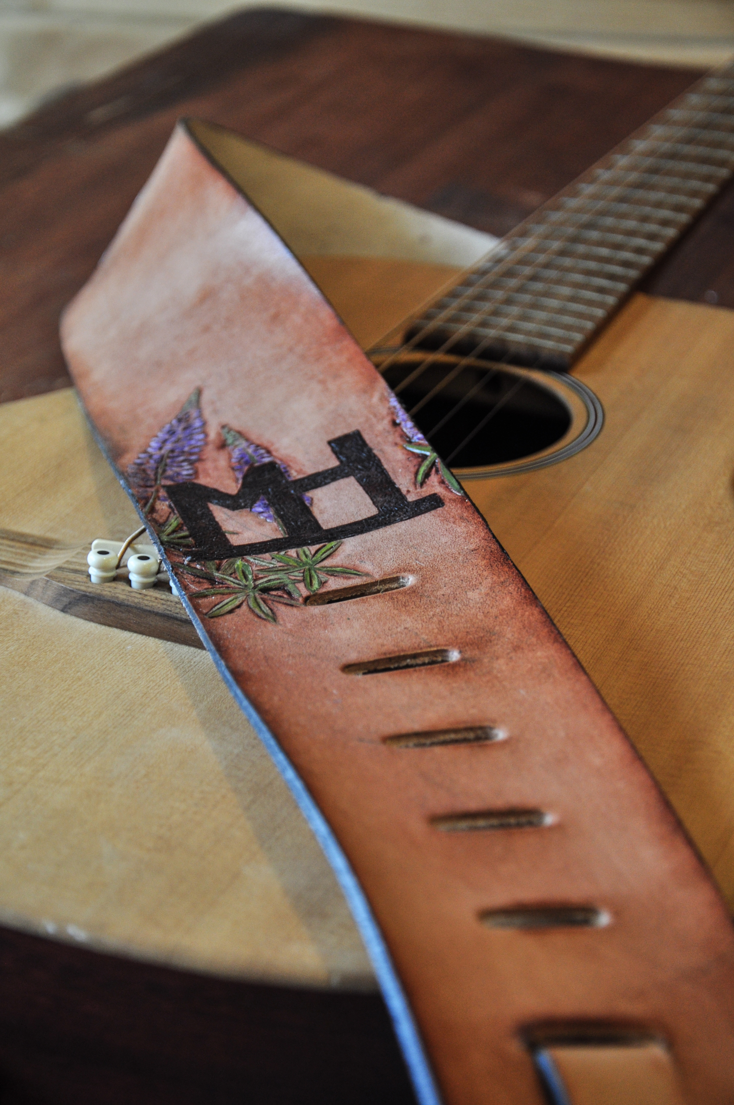 Teton Mountains and horse guitar strap-7