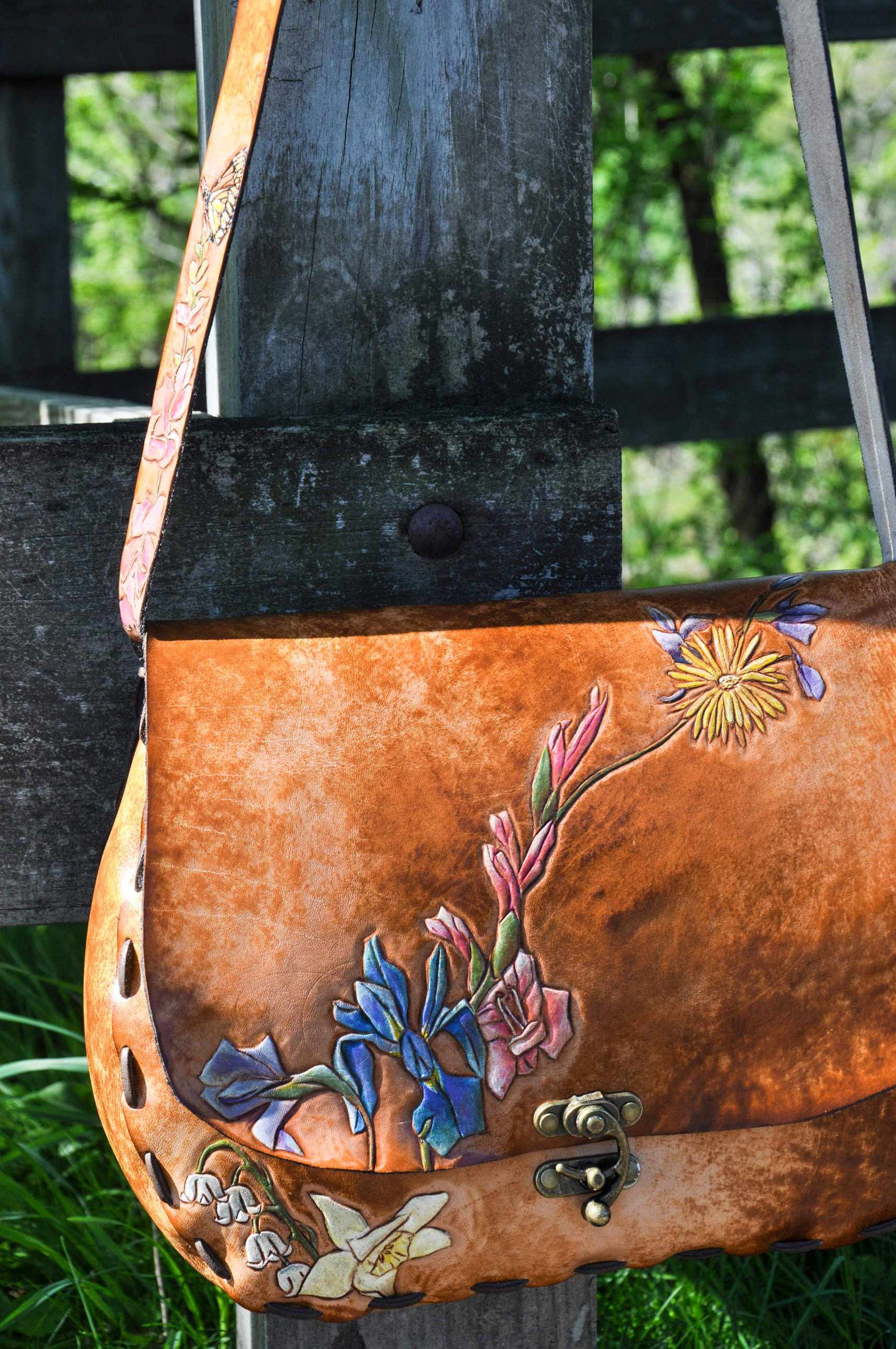 Custom Leather Flower and Dog Purse