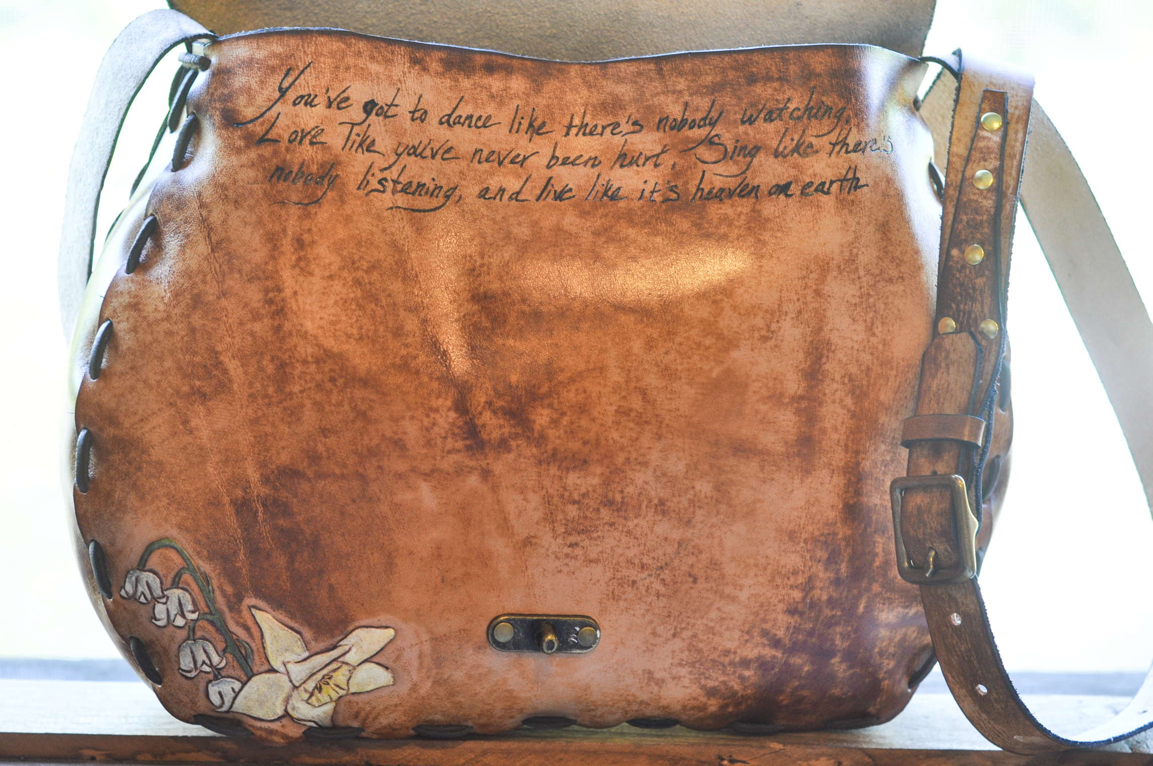 Custom Leather Purse Dog and Flowers-16