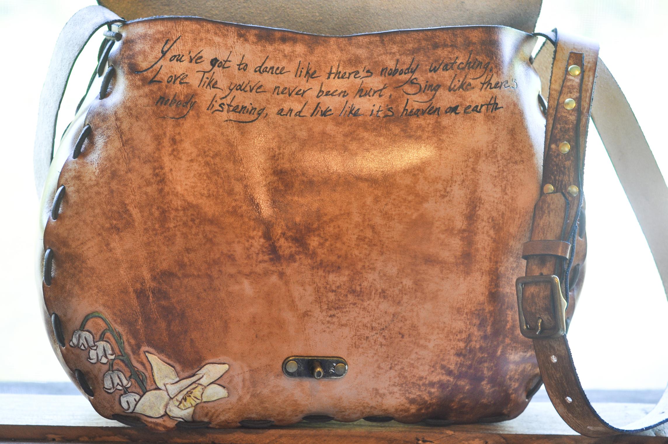 Custom Leather Purse Dog and Flowers-16