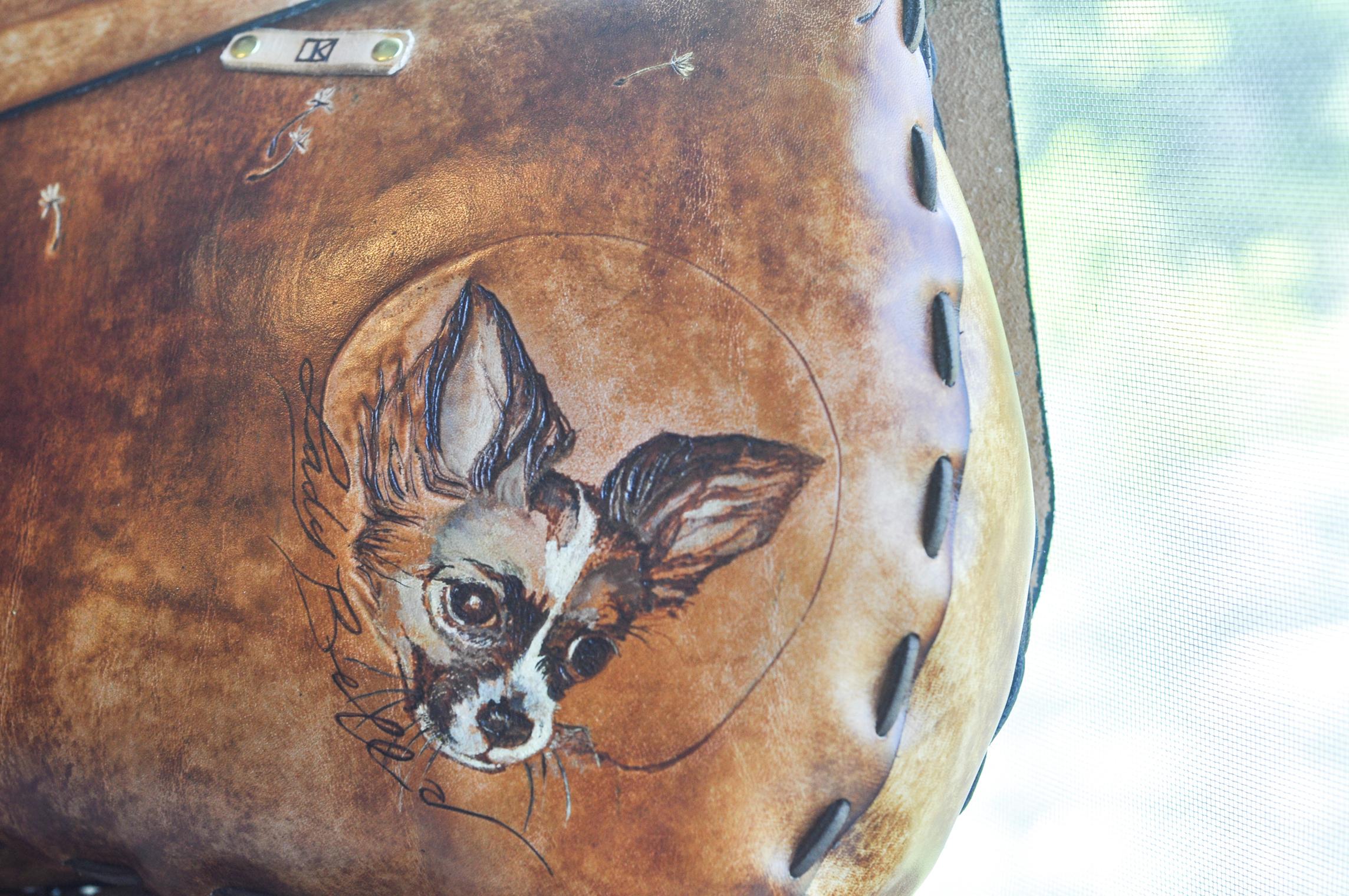 Custom Leather Purse Dog and Flowers-18