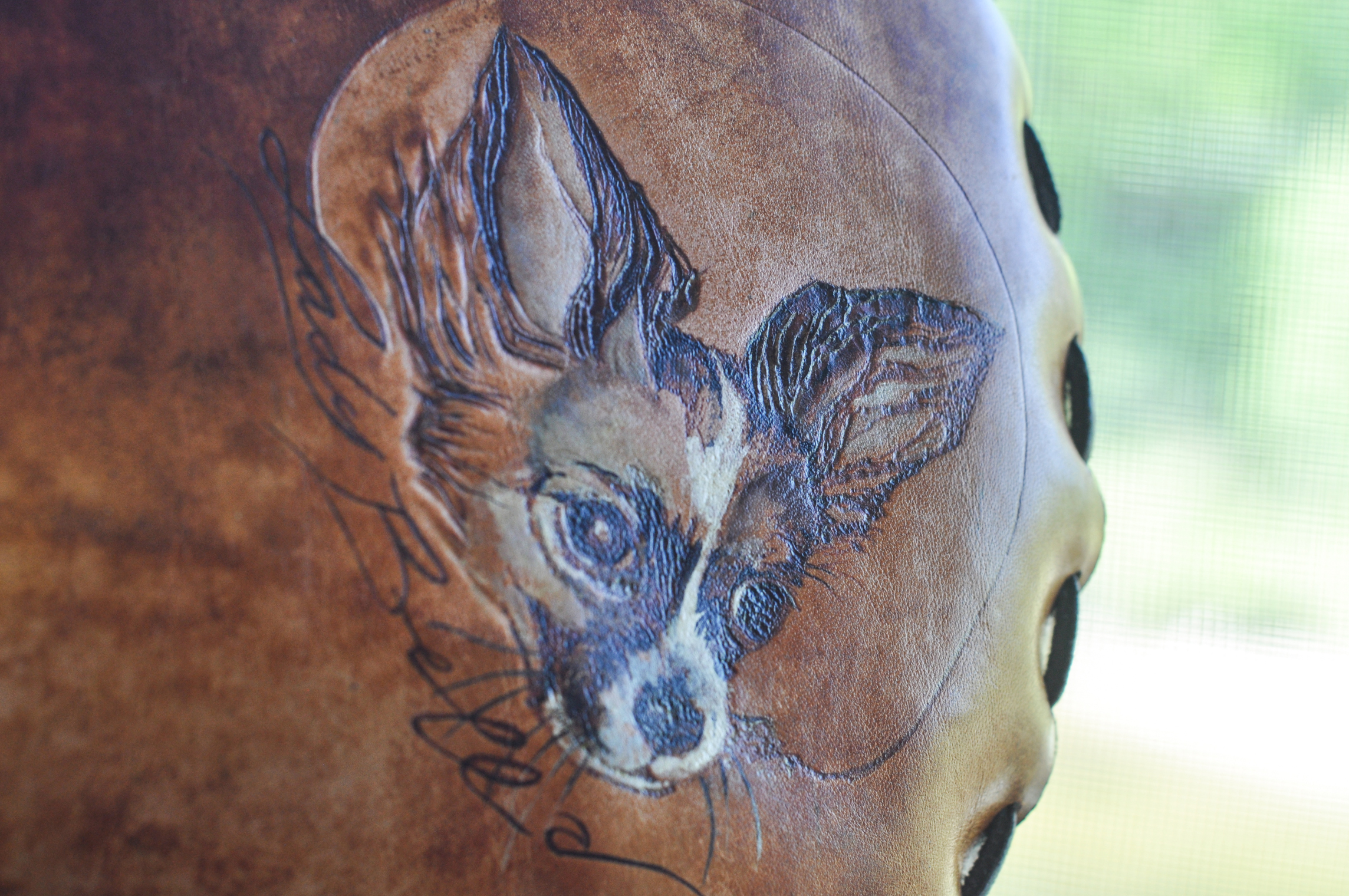 Custom Leather Flower and Dog Purse