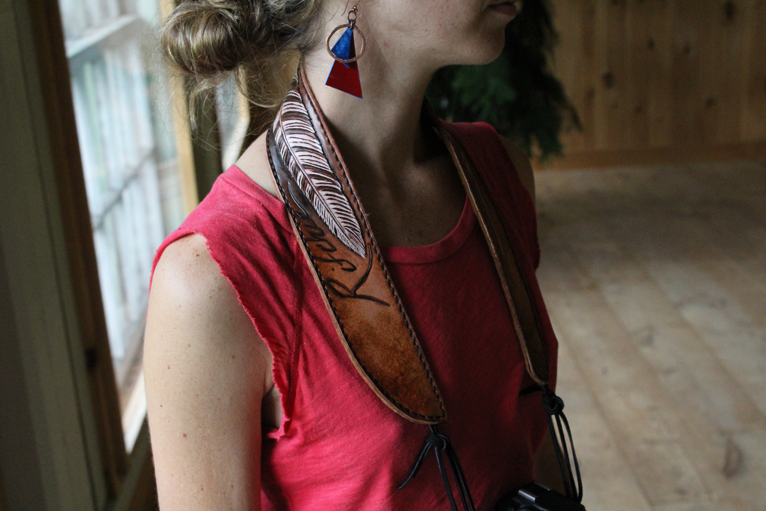 Leather Camera Strap tooled feather