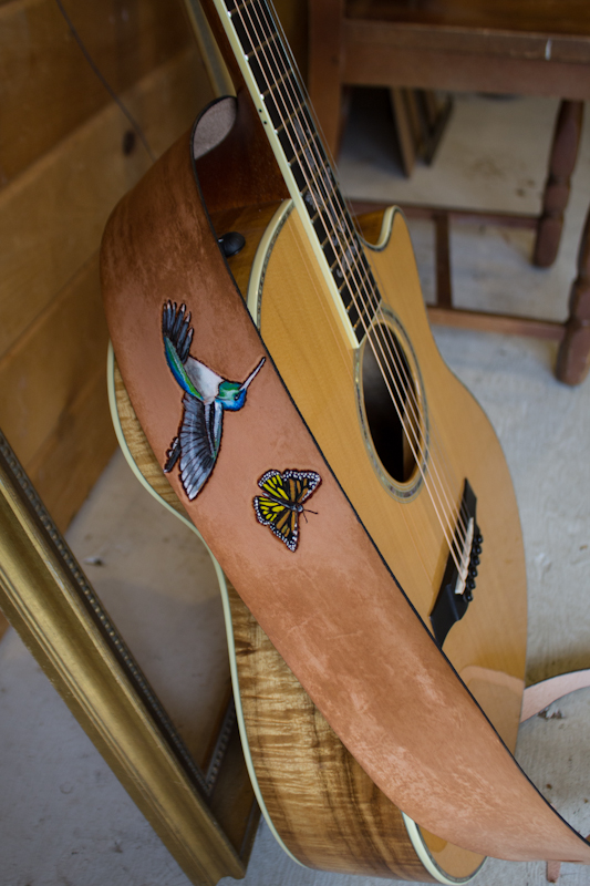 hummingbird and butterfly guitar strap-5
