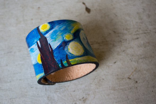 starry night cuff and small leather clutch-10