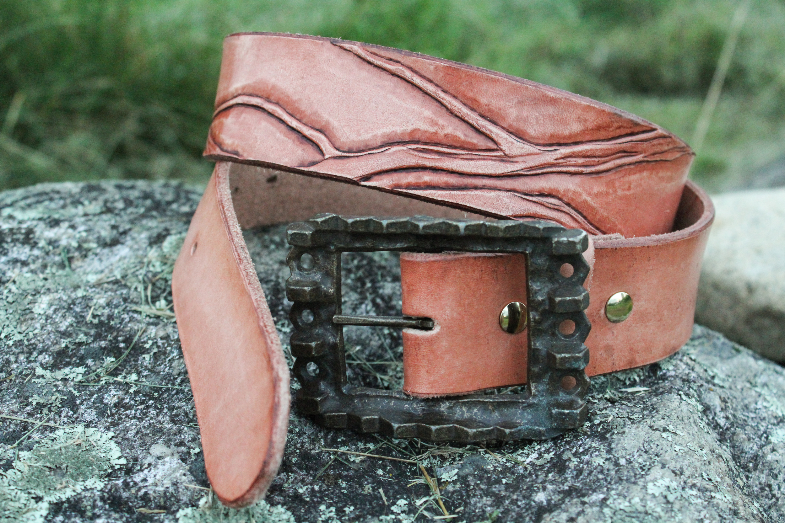 Leather Belt with Branches and vintage buckle