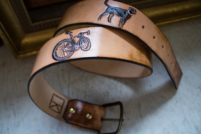 bike and dog leather belt-2
