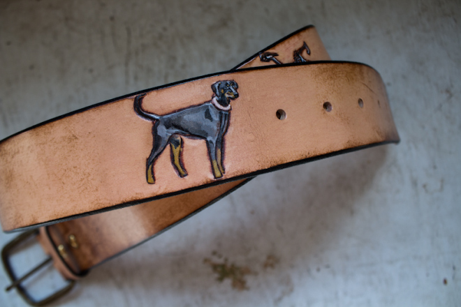 bike and dog leather belt-3