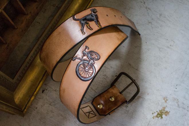 bike and dog leather belt