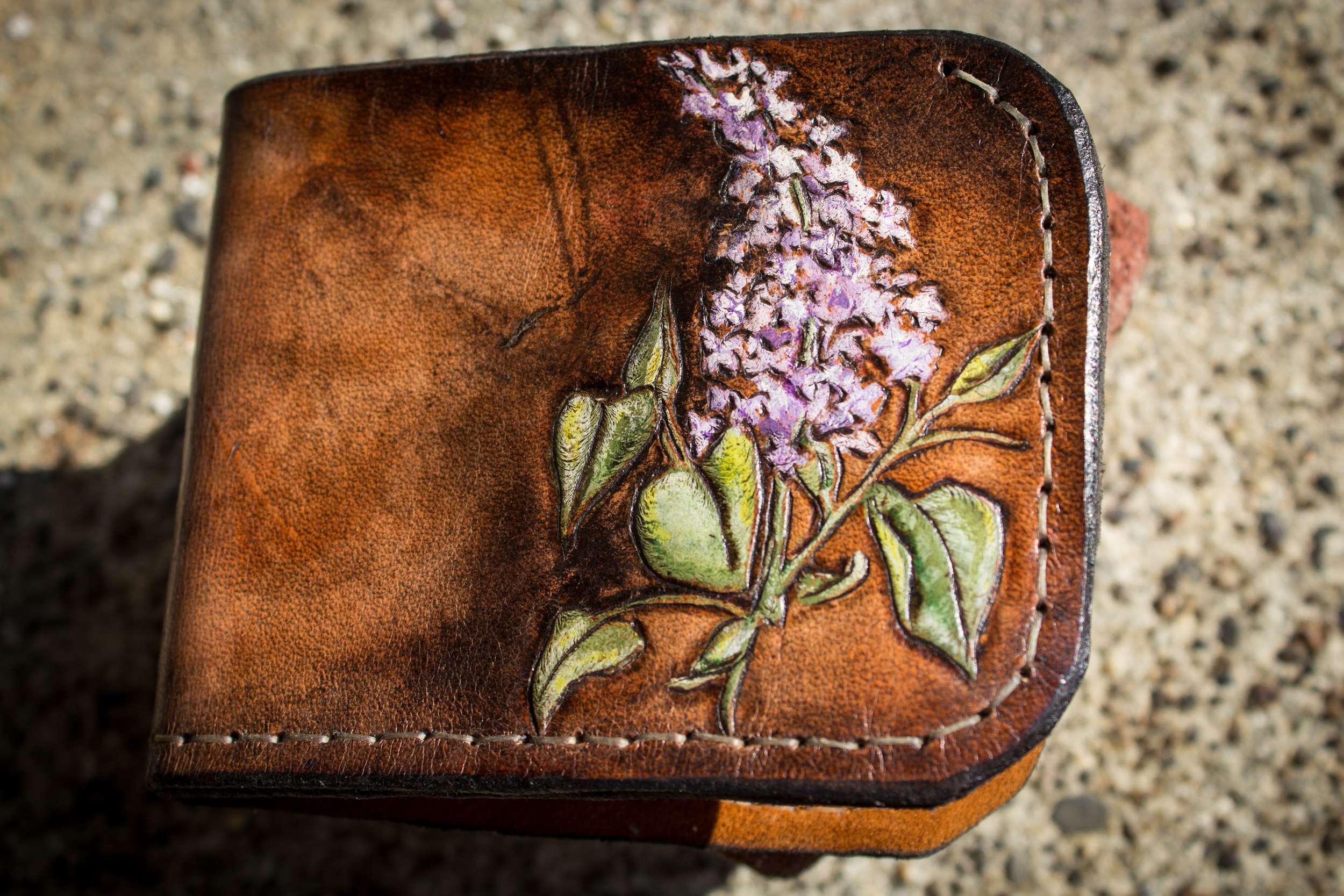 Custom Lilac Leather Wallet