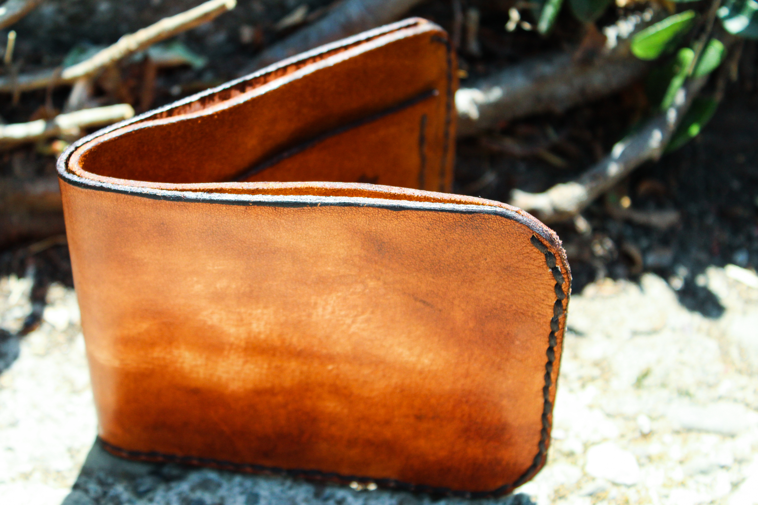 Leather Wallet with moose
