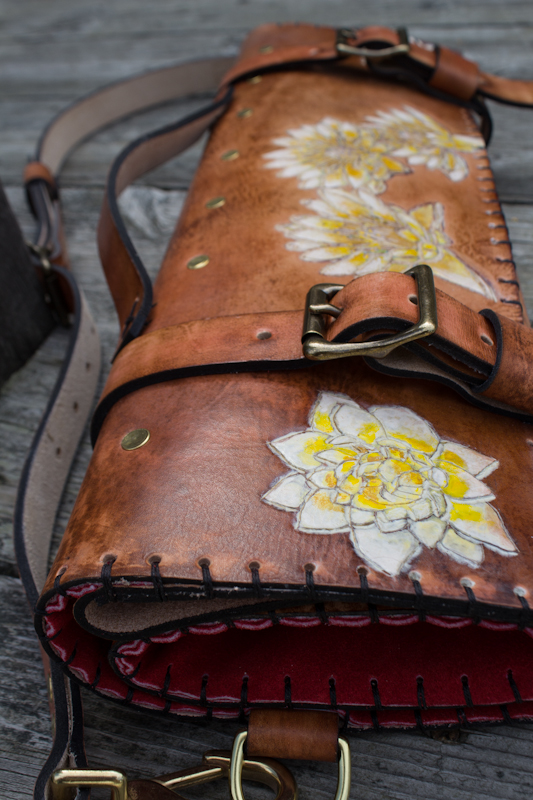 Flowers and Sanskrit custom leather chef roll-12