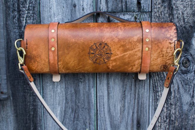 Flowers and Sanskrit custom leather chef roll-4