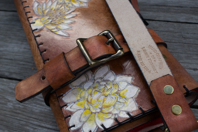 Flowers and Sanskrit custom leather chef roll-6