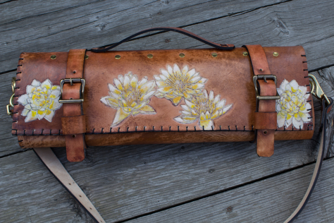 Flowers and Sanskrit custom leather chef roll-7