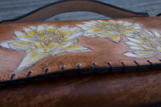 Flowers and Sanskrit custom leather chef roll-8
