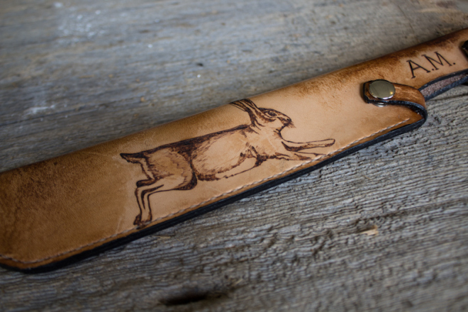 leather knife sheath with rabbit_-2