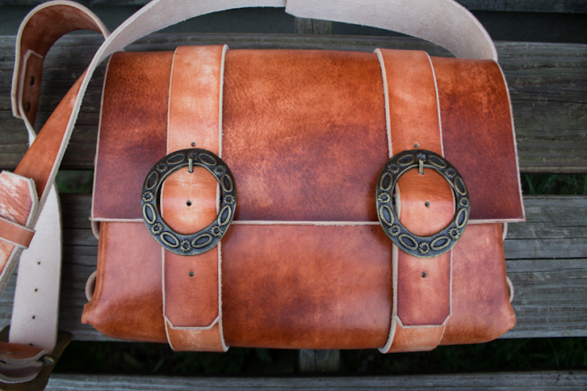 Leather Messenger Bag with vintage buckles-12