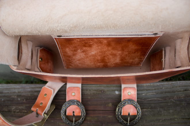 Leather Messenger Bag with vintage buckles-14