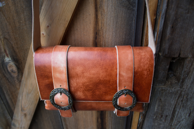 Leather Messenger Bag with vintage buckles-15