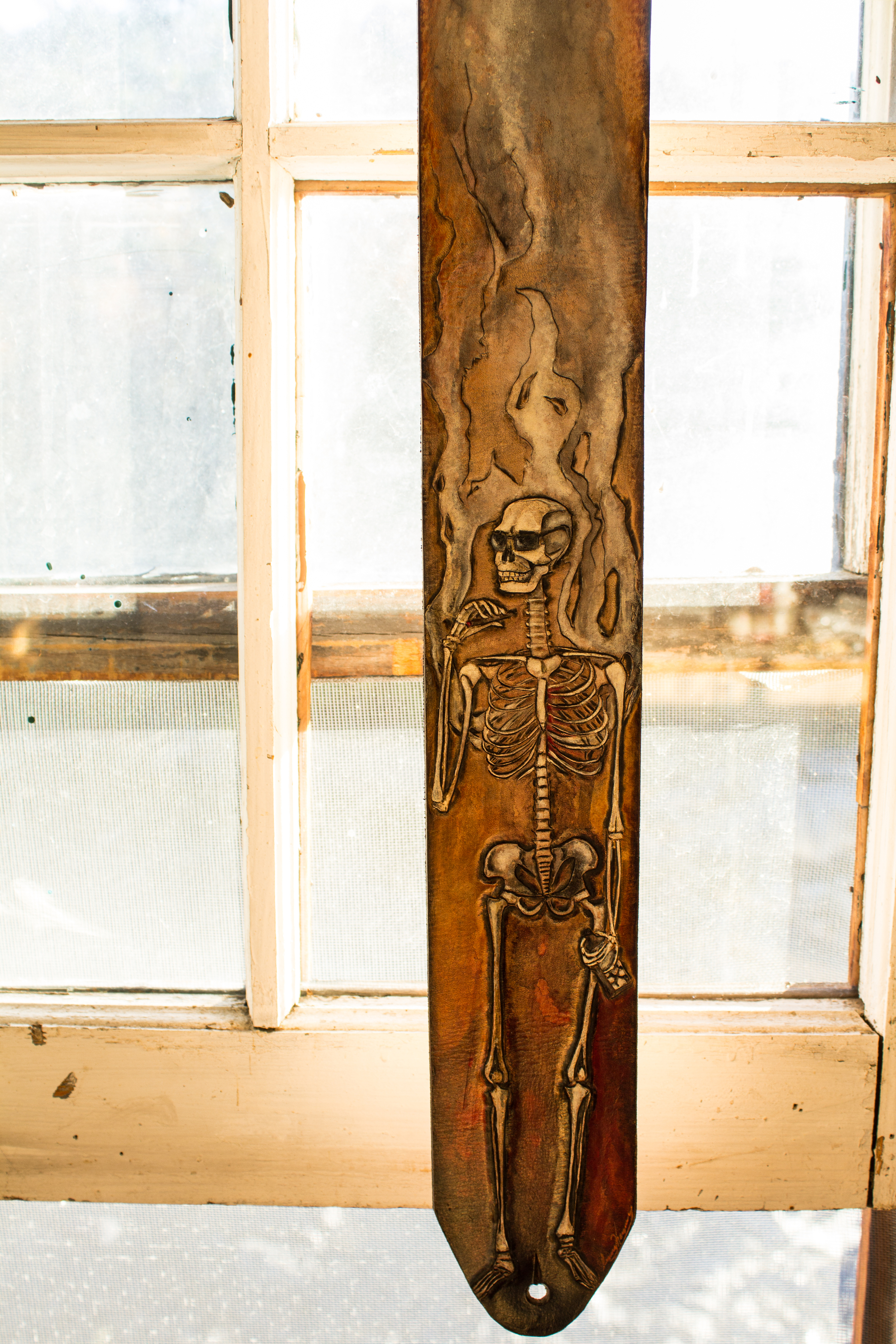 Leather Guitar Strap with Skeleton