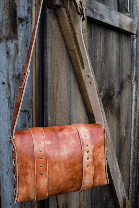 Leather Messenger Bag with vintage buckles