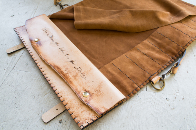 Live Your Dreams Custom leather knife roll for chef-8