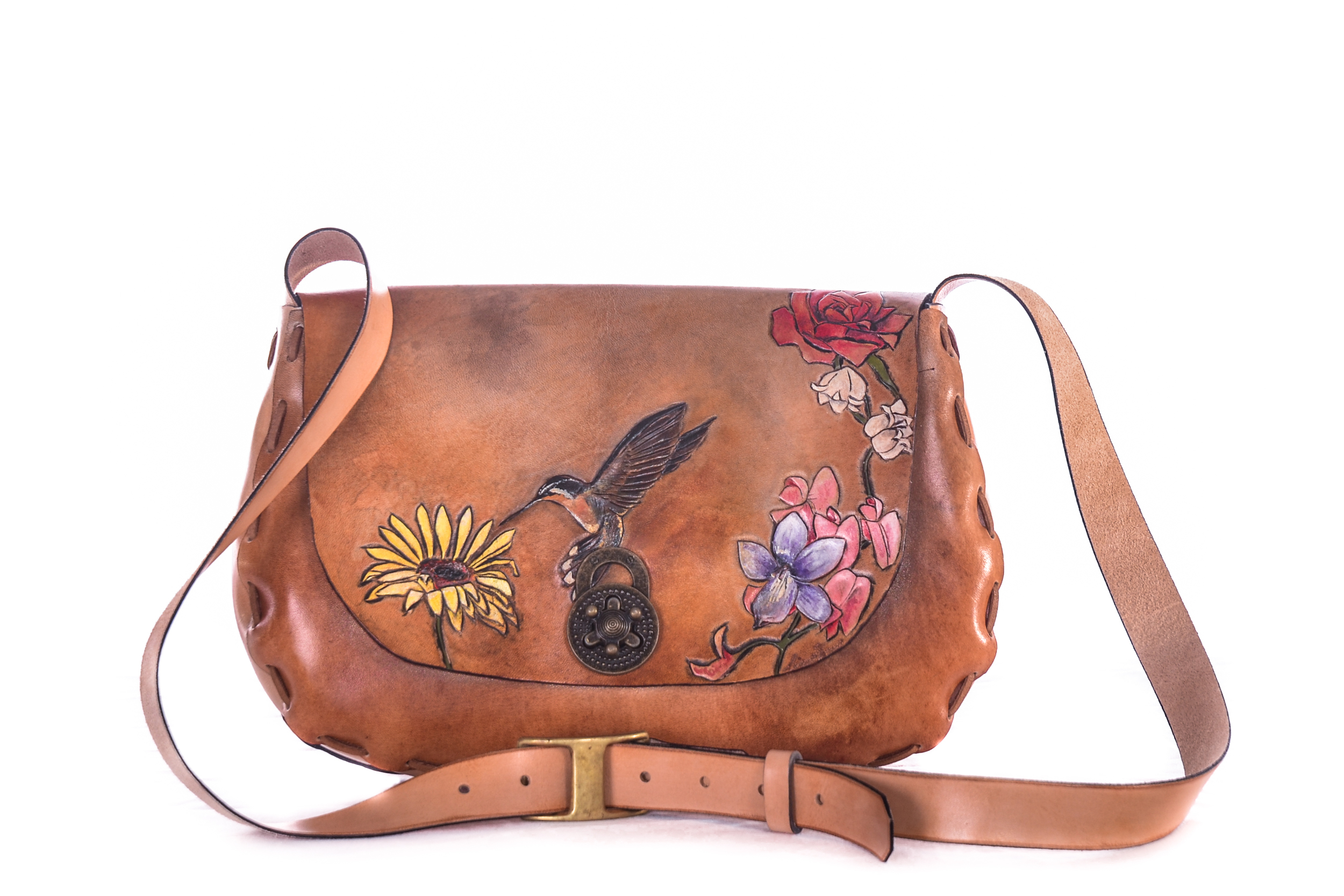 Hummingbird and flowers leather purse