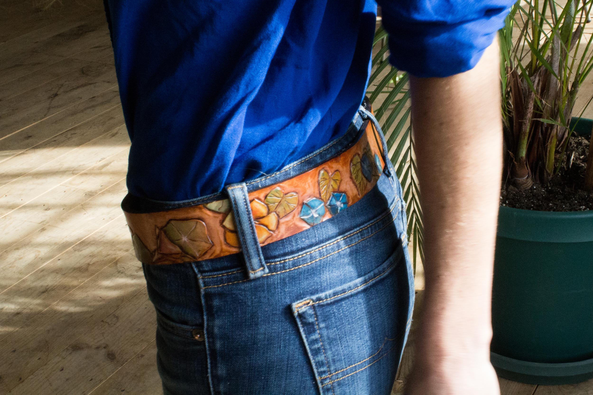 nasturtium and morning glory leather belt