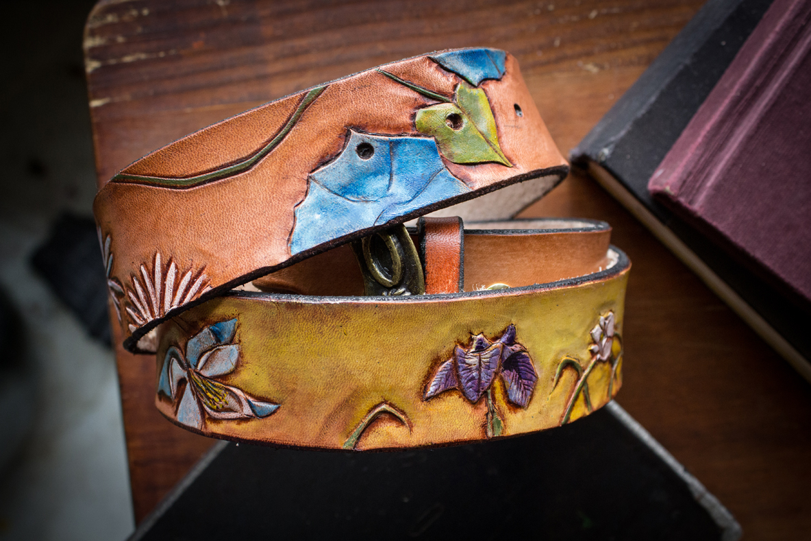Wildflower sunburst leather belt
